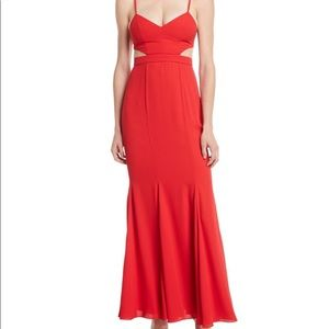 Fame & Partners Zyra Red Maxi Fitted Flare Dress 0